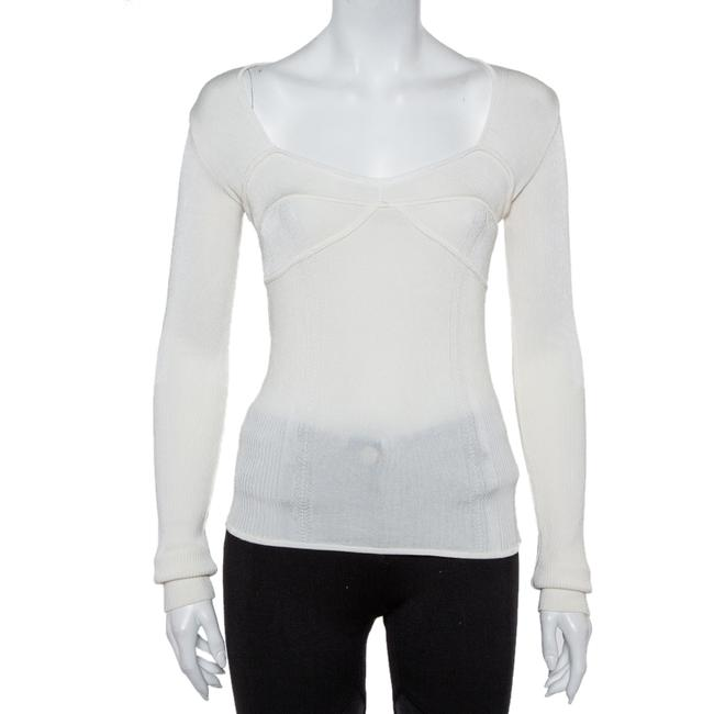 Item - Cream Rib Knit Long Sleeve Fitted Top M Blouse