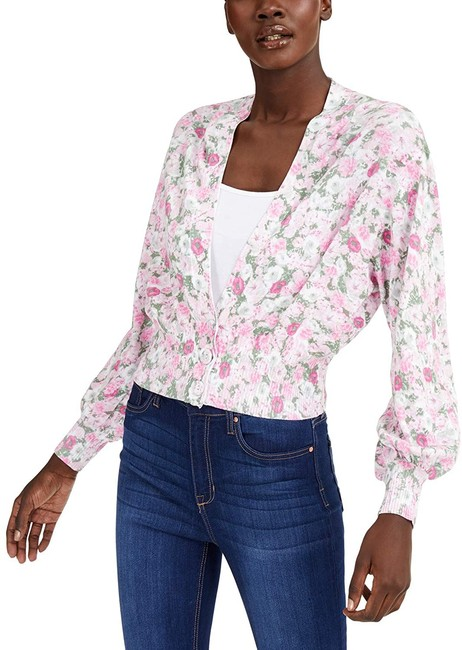 Item - XL Women's White Size Floral Balloon Sleeve Cardigan Sweater/Pullover