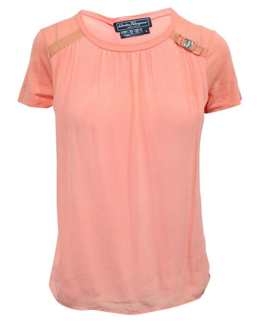 Item - Coral Silktop with Iconic Bow -pre Owned Blouse