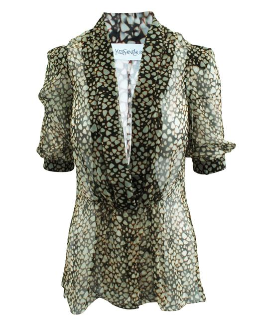 Item - Yves Brown Print Silk -pre Owned Condition Very Blouse