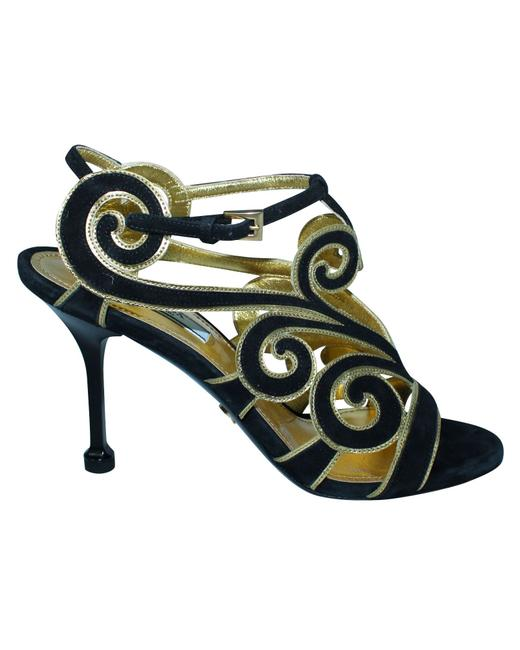 Item - Suede Black and Gold Elegant Heels -pre Owned Condition Very Formal