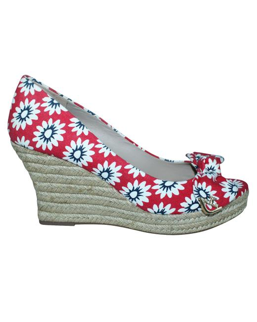 Item - Floral Print Red Espadrilles -pre Owned Condition Wedges