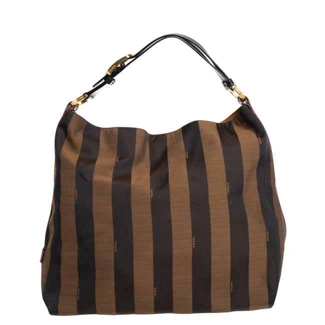 Item - Tobacco/Tan Canvas and Leather Large Pequin Striped Hobo Bag
