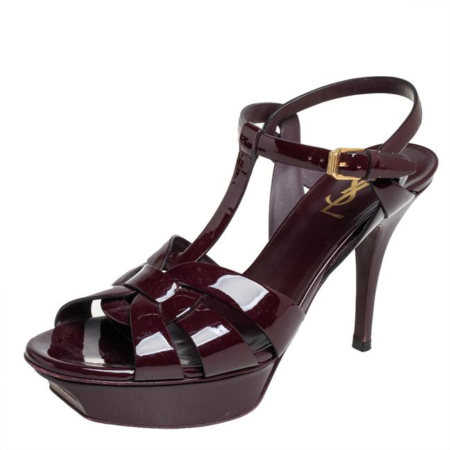 Item - Tribute Burgundy Patent Leather Ankle Strap Size 39.5 Sandals