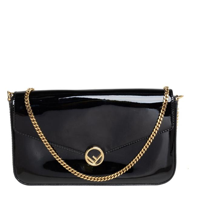 Item - on Chain Black Patent Leather F Wallet