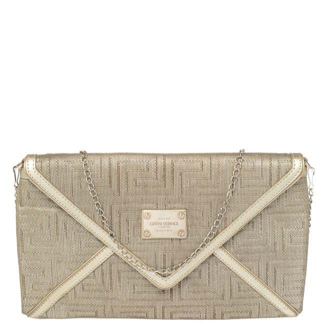 Item - Chain Gold Fabric Gianni Couture Envelope Chain Clutch