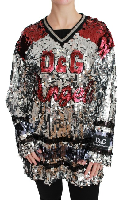 Item - Silver Sequined D&g Angel Blouse Sweater/Pullover
