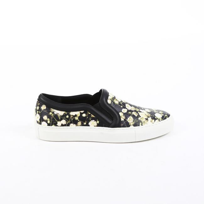 Item - Floral Print Black White Leather Slip On Sneakers 38 Athletic