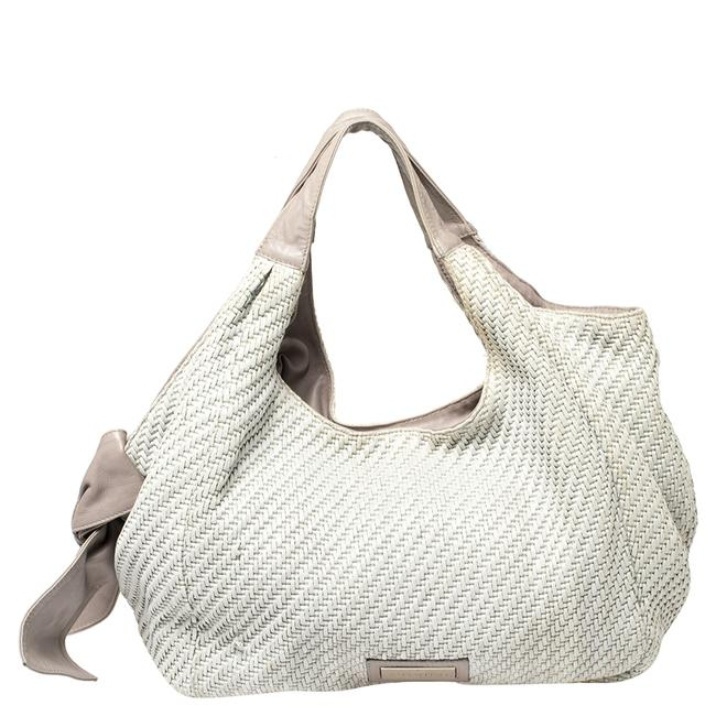 Item - Grey Woven Raffia and Leather Bow Hobo Bag