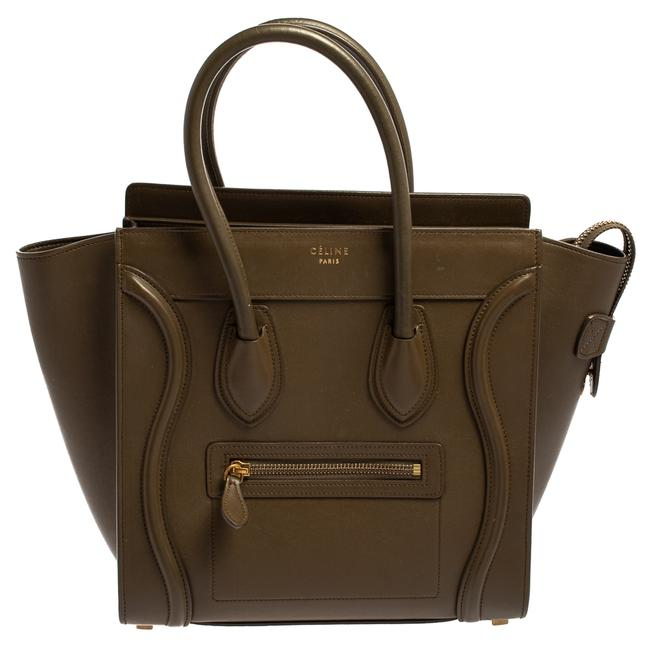 Item - Luggage Olive Green Leather Micro Tote