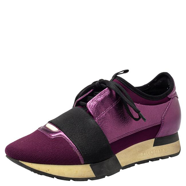 Item - Purple Leather and Knit Fabric Race Runner Low Top Sneakers Size 37 Athletic
