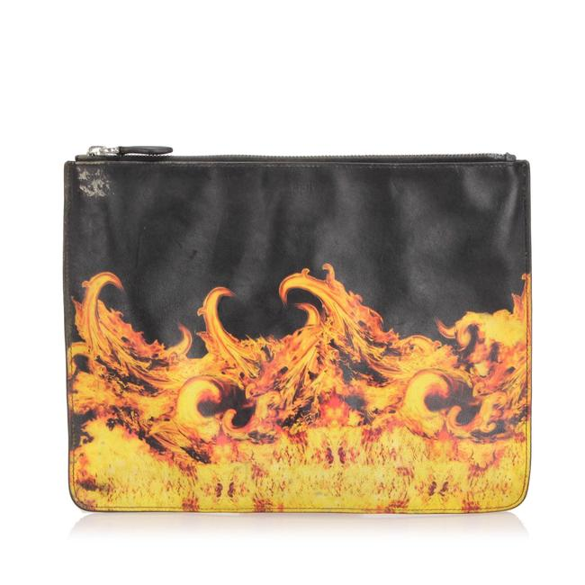 Item - Flame Print Leather Pouch Wristlet