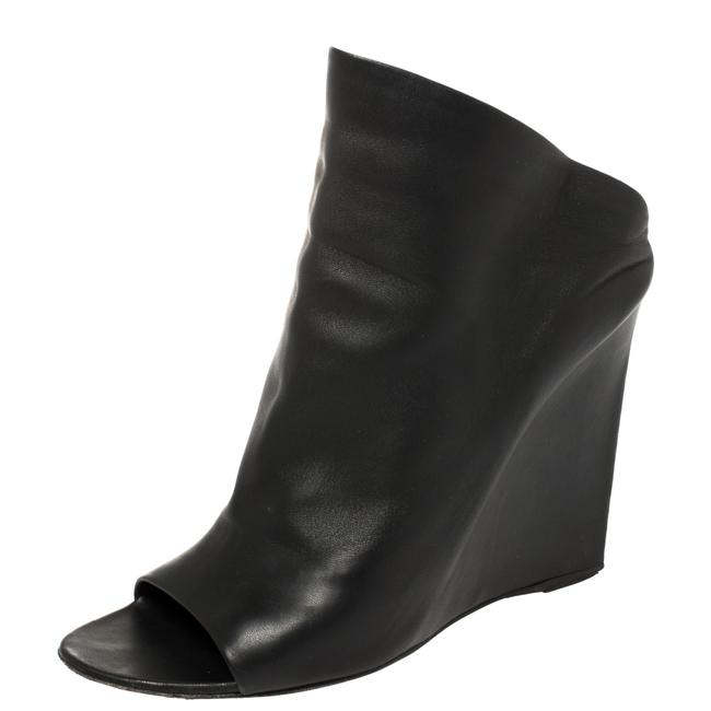 Item - Black Leather Glove Wedge Size 38.5 Sandals