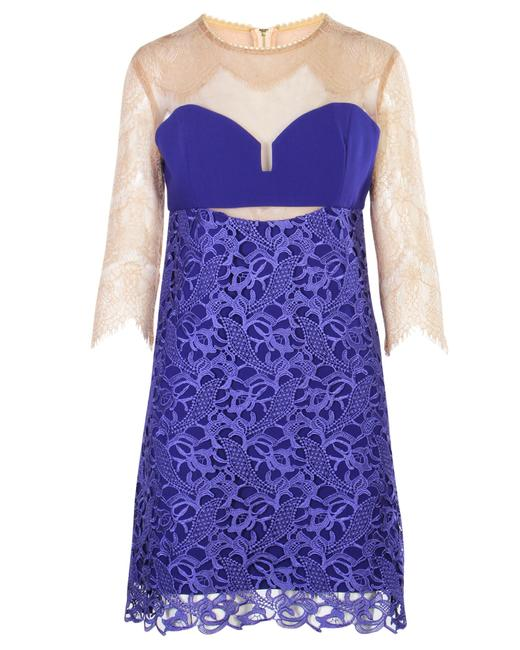 Item - Nude and Blue Purple Laced Dress