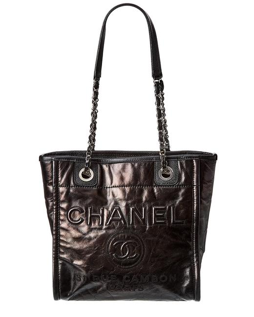 Item - Deauville Pre-owned Calfskin Leather Small 8047-1 Tote