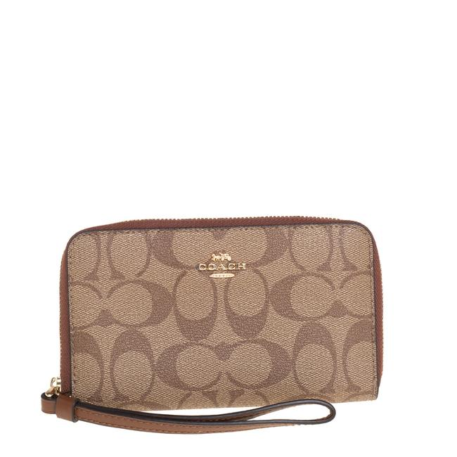 Item - Brown Signature Coated Canvas Wristlet Wallet