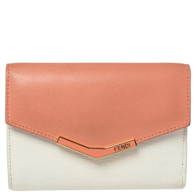 Item - White/Peach Leather 2jours Compact Wallet