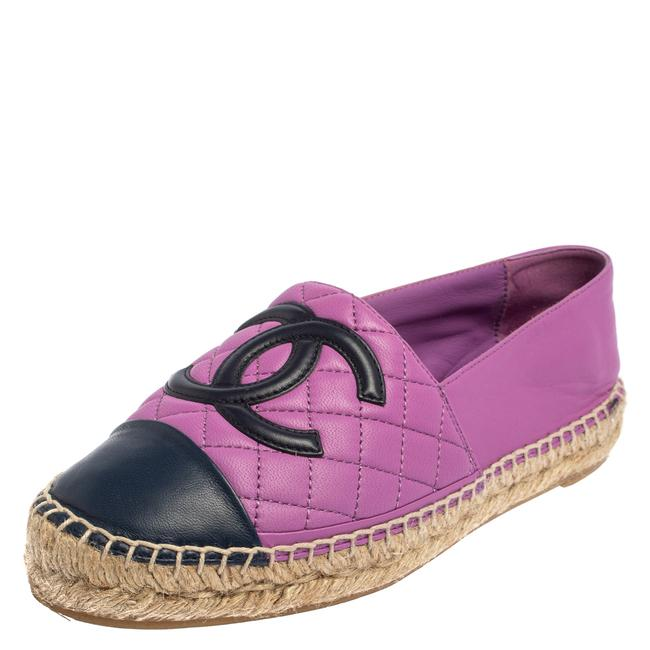 Item - Purple Quilted Leather Cc Espadrile Size 37 Flats