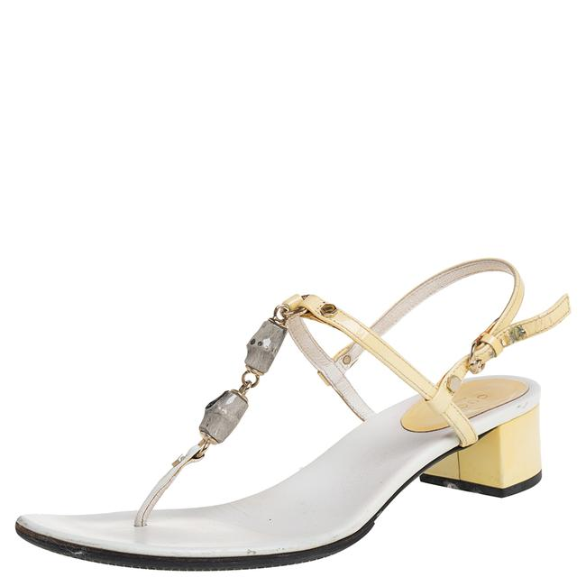 Item - Gucci Cream/White Patent and Leather Size 37.5 Sandals