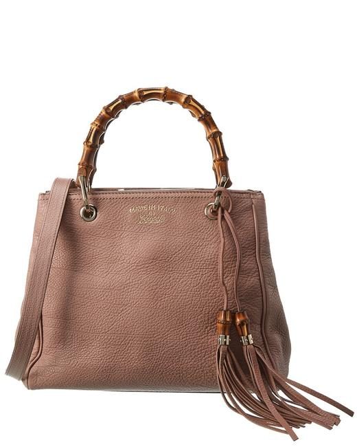 Gucci Pre-owned Pink Grained Leather Small Bamboo Shopper 2485940 Tote Gucci Pre-owned Pink Grained Leather Small Bamboo Shopper 2485940 Tote Image 1