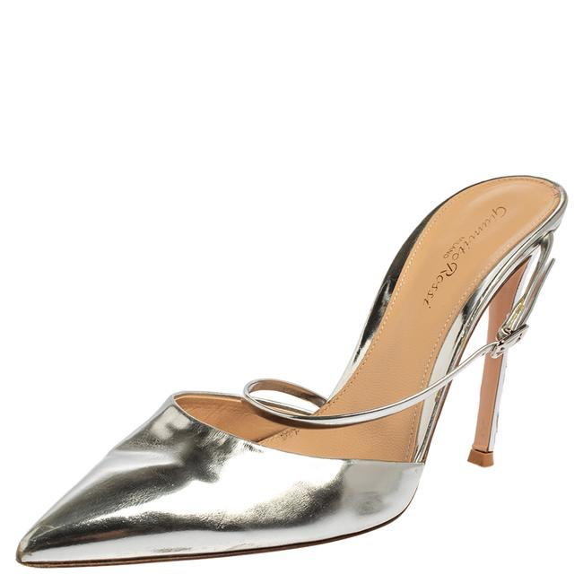 Item - Silver Leather Pointed Toe Mule Size 39 Sandals