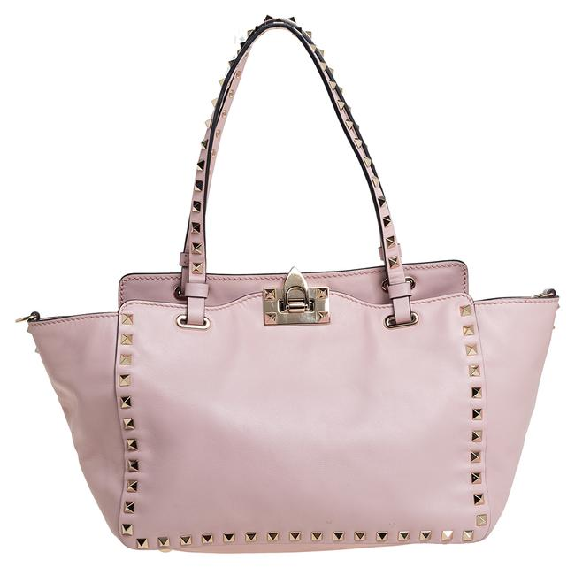 Item - Pink Leather Small Rockstud Trapeze Tote