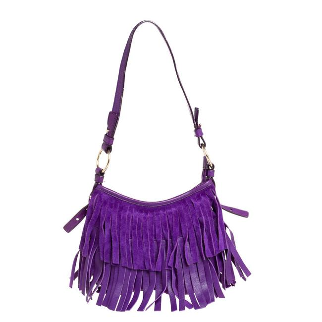 Item - Yves Purple Suede and Leather Fringe Hobo Bag