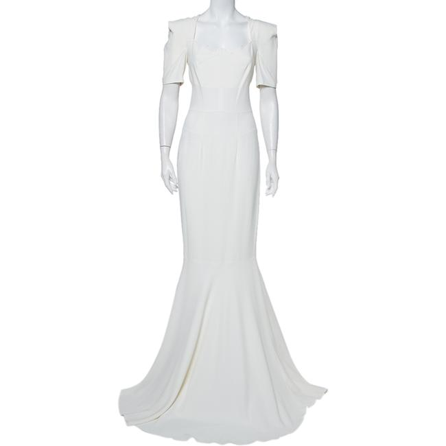 Item - L White Crepe Paneled Detail Fitted Jansen Gown