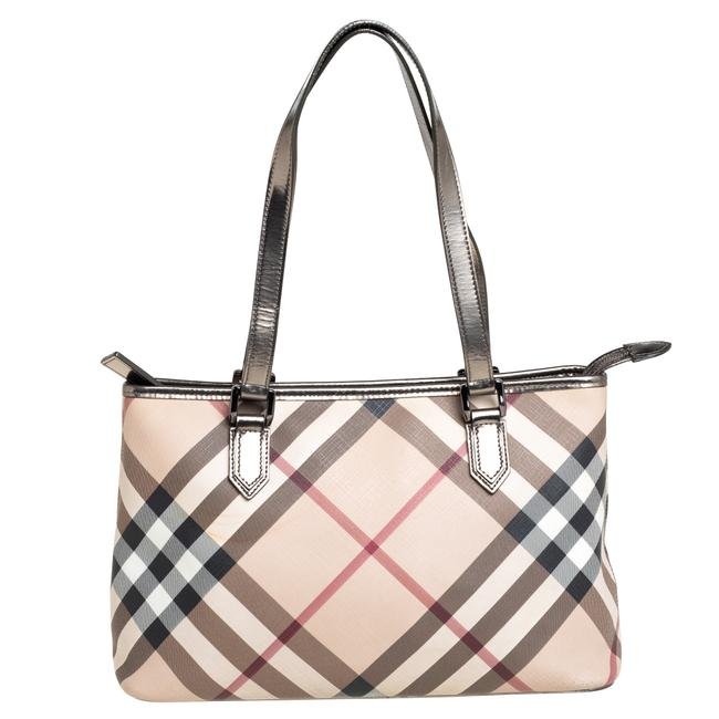 Item - Beige/Black Nova Check Coated Canvas and Leather Nickie Tote