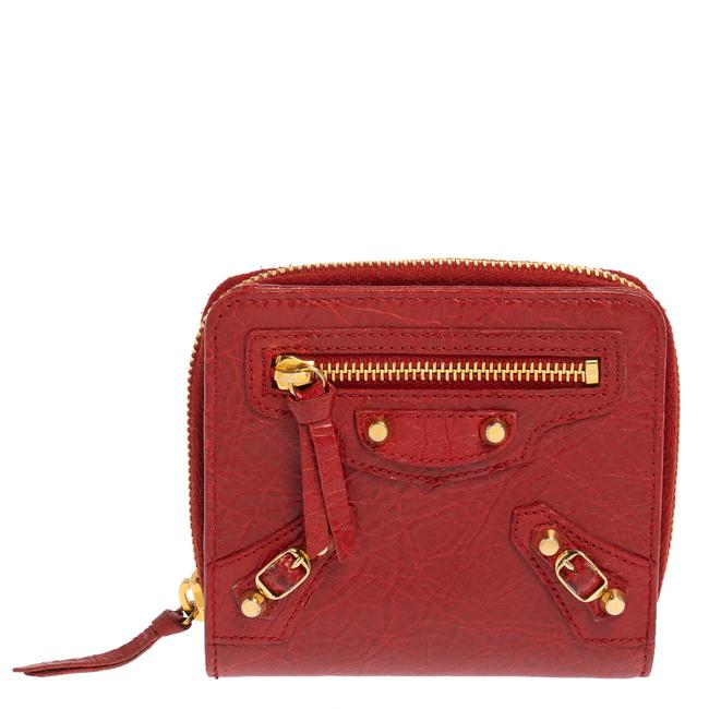 Item - Rouge Groseille Leather Zip Around Compact Wallet
