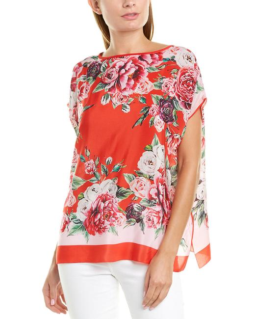 Item - Meedson Womens Silk H9144 Red & Multicolor Floral Print Tunic