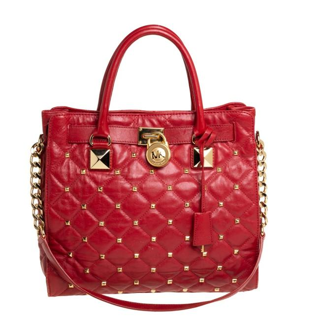 Item - Red Quilted Leather Studded Hamilton Tote