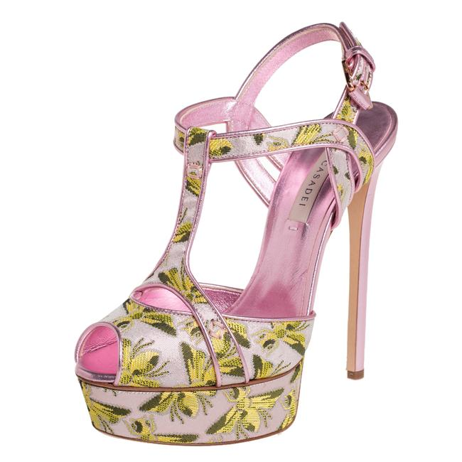Item - Pink Leather and Jacquard Bee Motif Size 38 Sandals