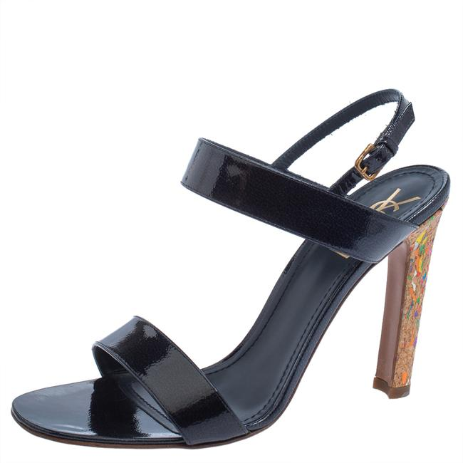 Item - Yves Navy Blue Patent Leather Cork Heel Ankle Strap Size 41 Sandals