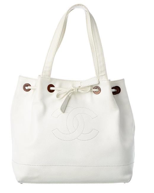 Item - Deauville Pre-owned White Leather 8130-1 Tote