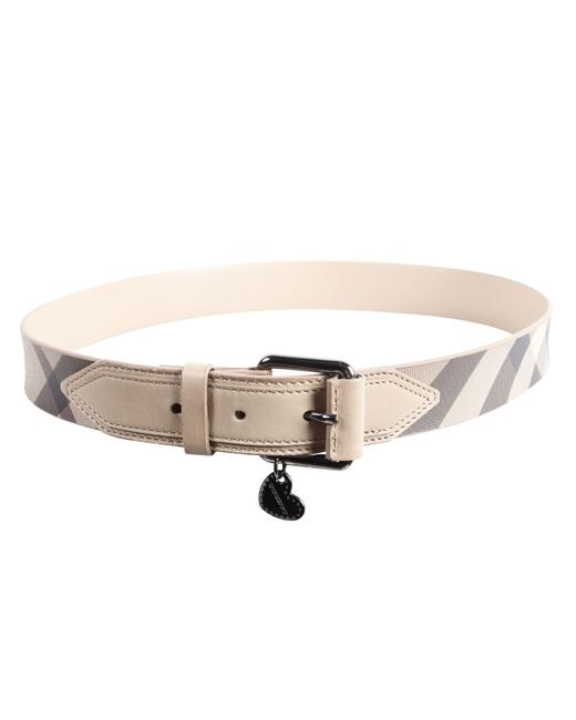Item - Warm Grey Grainy Leather House Check -pre Owned Belt