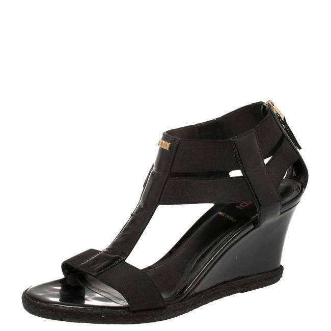 Item - Black Elastic and Patent Leather Espadrille Wedge T-strap Size 38.5 Sandals
