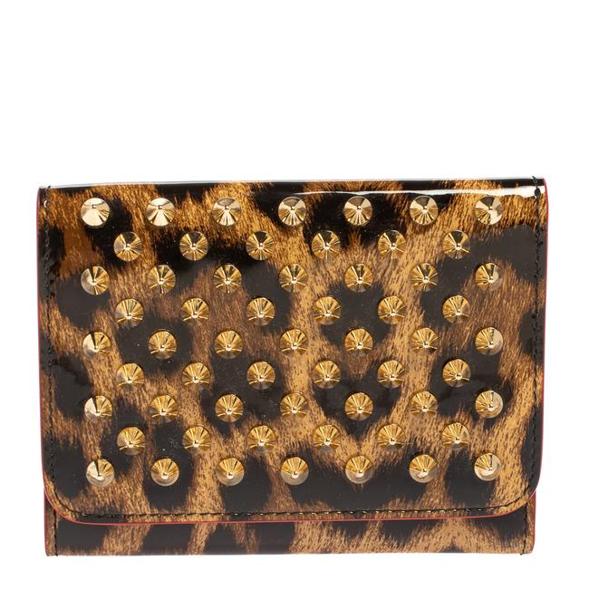 Item - Brown Leopard Print Patent Leather Macaron Trifold Wallet