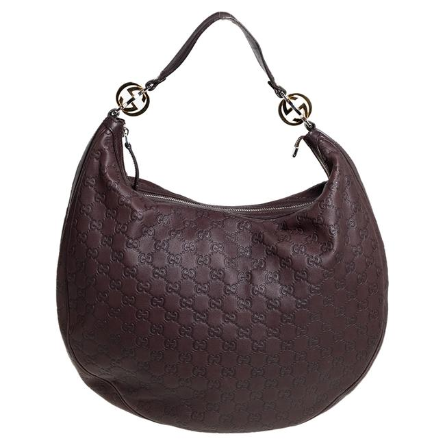 Item - Brown ssima Leather Large Gg Twins Hobo Bag