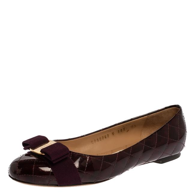 Item - Burgundy Quilted Patent Leather Varina Vara Bow Size 37 Flats