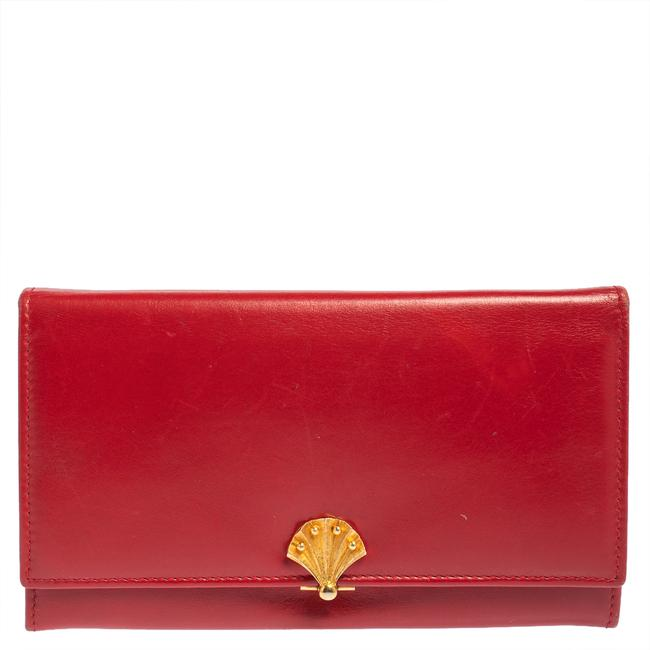 Item - Red Leather Flap Continental Wallet