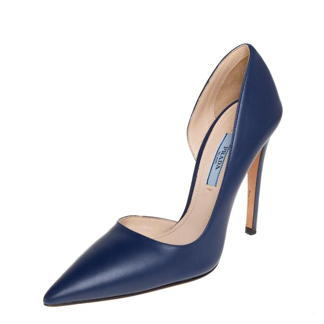 Item - Blue Leather D'orsay Pointed Size 36 Pumps