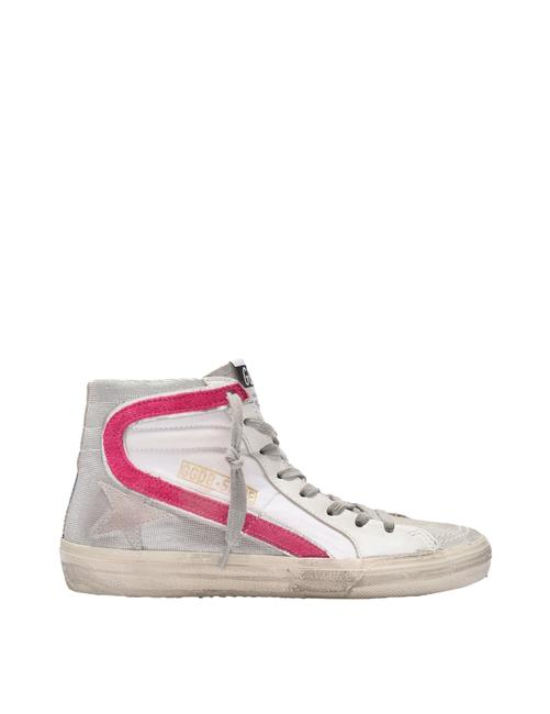 Item - Slide Sneakers In White/Multicolored Leather Athletic