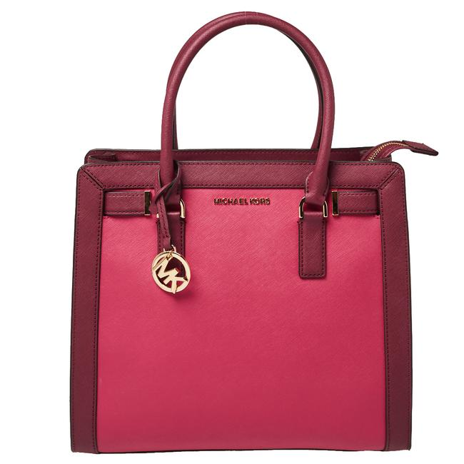 Item - Raspberry/Red Leather Dillon Tote