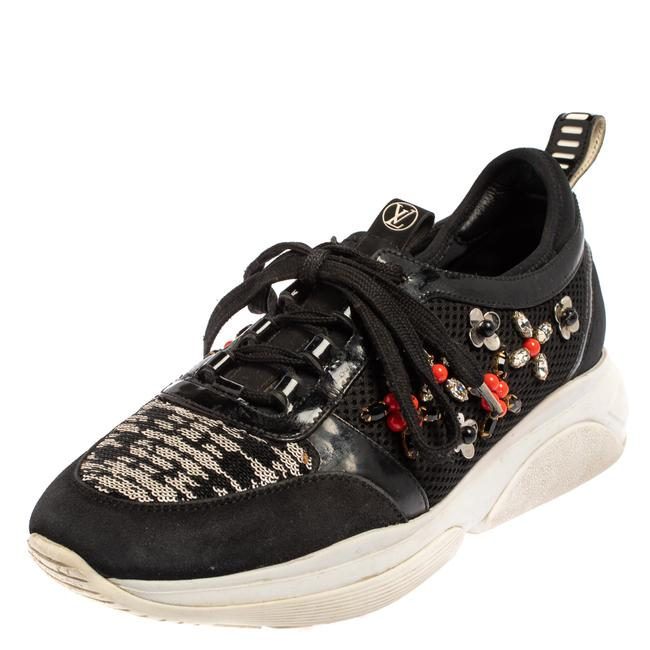 Item - Black Patent Leather and Mesh Crystal Embellished Low Top Sneakers Size 37 Athletic