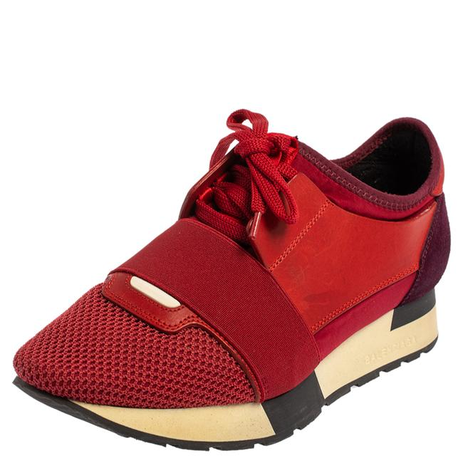 Item - Red/Purple Suede and Leather Race Runner Low Top Sneakers Size 37 Athletic