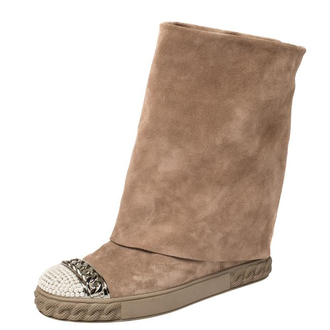 Item - Beige Suede Pearl and Chain Cap Toe Fold-over Wedge Size 38 Boots/Booties