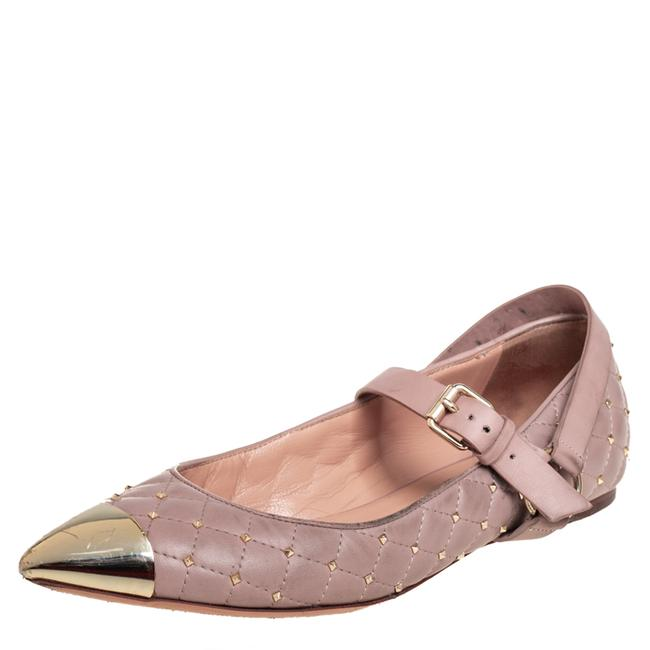Item - Pink Quilted Leather Rockstud Metal Cap Toe Ballerina Size 37.5 Flats