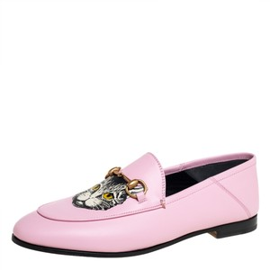Gucci Pink Leather Brixton Cat Size 37 Loafers