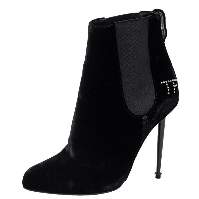 Item - Black Suede Crystal Embellished Ankle Size 38.5 Boots/Booties